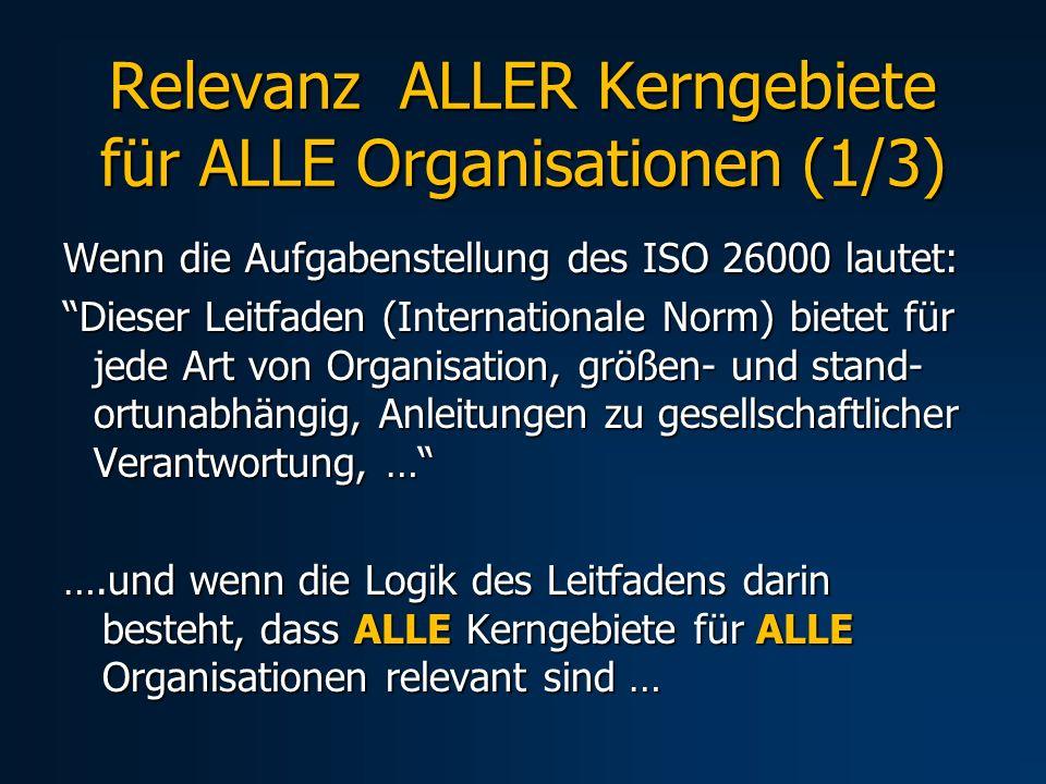 Relevanz ALLER Kerngebiete für ALLE Organisationen (1/3) Wenn die Aufgabenstellung des ISO 26000 lautet: Dieser Leitfaden (Internationale Norm) bietet