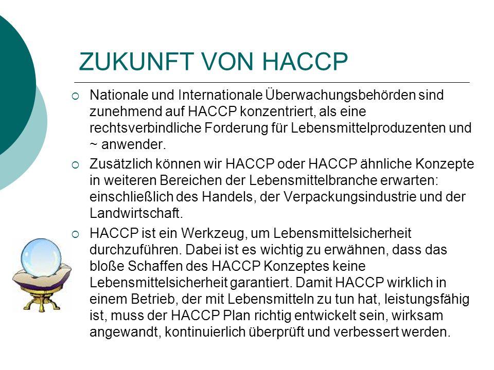 ZUKUNFT VON HACCP Nationale und Internationale Überwachungsbehörden sind zunehmend auf HACCP konzentriert, als eine rechtsverbindliche Forderung für L