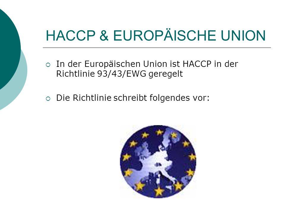 HACCP & EUROPÄISCHE UNION In der Europäischen Union ist HACCP in der Richtlinie 93/43/EWG geregelt Die Richtlinie schreibt folgendes vor: