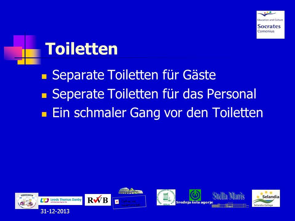 31-12-2013 Toiletten Separate Toiletten für Gäste Seperate Toiletten für das Personal Ein schmaler Gang vor den Toiletten Srednja šola agorje