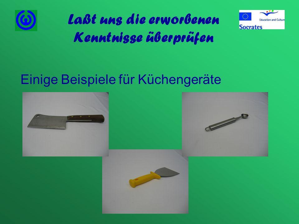 Laßt uns die erworbenen Kenntnisse überprüfen Einige Beispiele für Küchengeräte