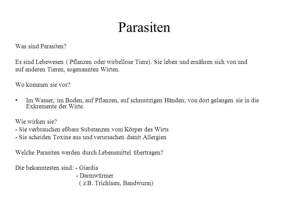 Parasiten Was sind Parasiten? Es sind Lebewesen ( Pflanzen oder wirbellose Tiere). Sie leben und ernähren sich von und auf anderen Tieren, sogenannten