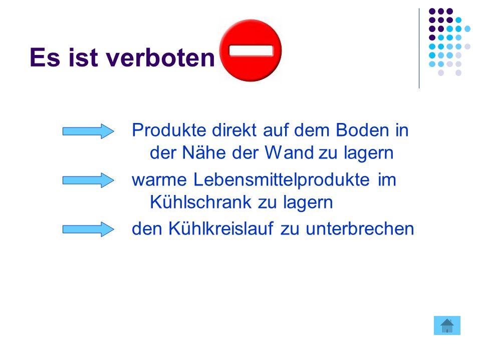 Es ist verboten Produkte direkt auf dem Boden in der Nähe der Wand zu lagern warme Lebensmittelprodukte im Kühlschrank zu lagern den Kühlkreislauf zu unterbrechen