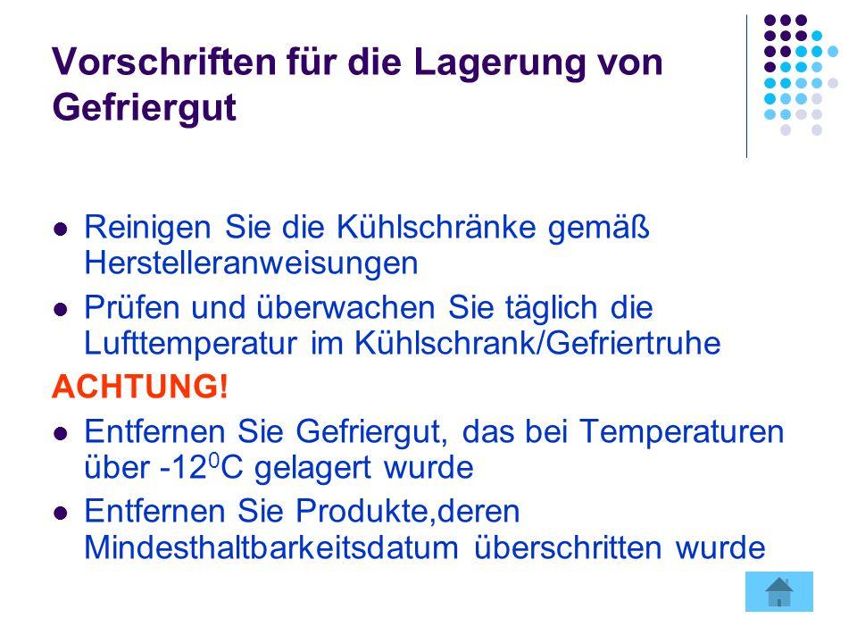 Vorschriften für die Lagerung von Gefriergut Reinigen Sie die Kühlschränke gemäß Herstelleranweisungen Prüfen und überwachen Sie täglich die Lufttemperatur im Kühlschrank/Gefriertruhe ACHTUNG.
