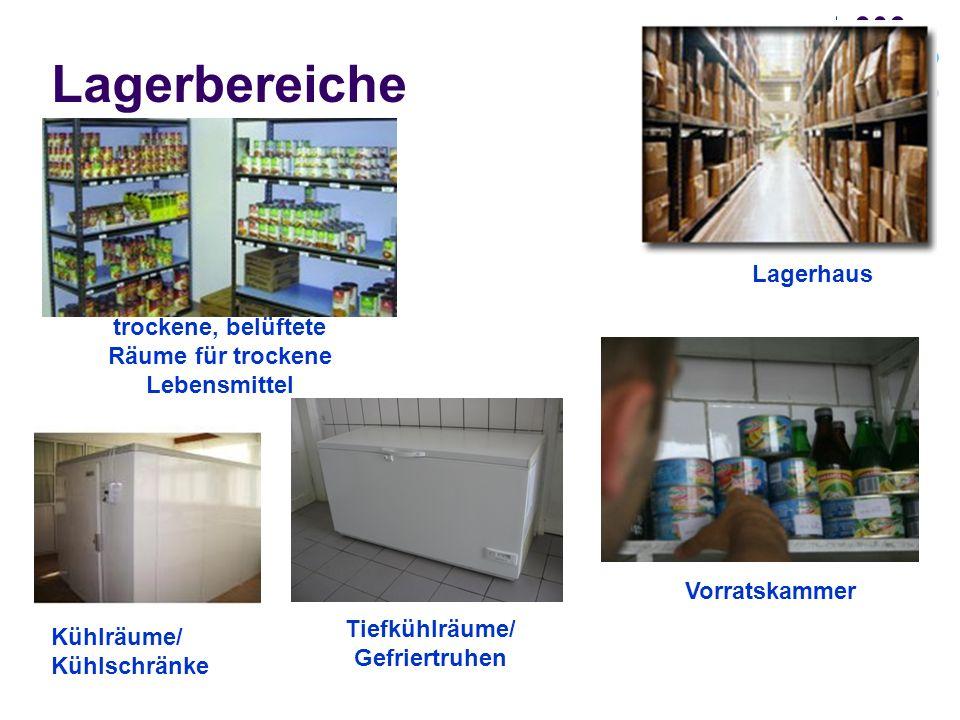 Lagerbereiche Lagerhaus trockene, belüftete Räume für trockene Lebensmittel Vorratskammer Kühlräume/ Kühlschränke Tiefkühlräume/ Gefriertruhen