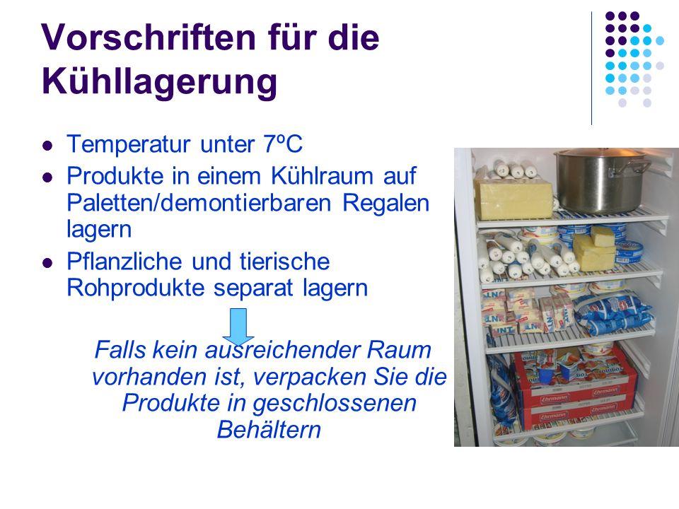 Vorschriften für die Kühllagerung Temperatur unter 7ºC Produkte in einem Kühlraum auf Paletten/demontierbaren Regalen lagern Pflanzliche und tierische Rohprodukte separat lagern Falls kein ausreichender Raum vorhanden ist, verpacken Sie die Produkte in geschlossenen Behältern