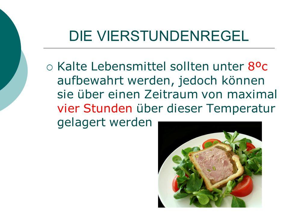 DIE VIERSTUNDENREGEL Kalte Lebensmittel sollten unter 8ºc aufbewahrt werden, jedoch können sie über einen Zeitraum von maximal vier Stunden über dieser Temperatur gelagert werden