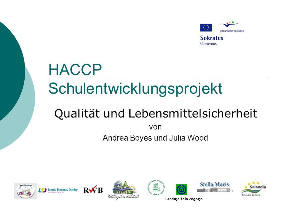 HACCP Schulentwicklungsprojekt Qualität und Lebensmittelsicherheit von Andrea Boyes und Julia Wood Srednja šola Zagorje