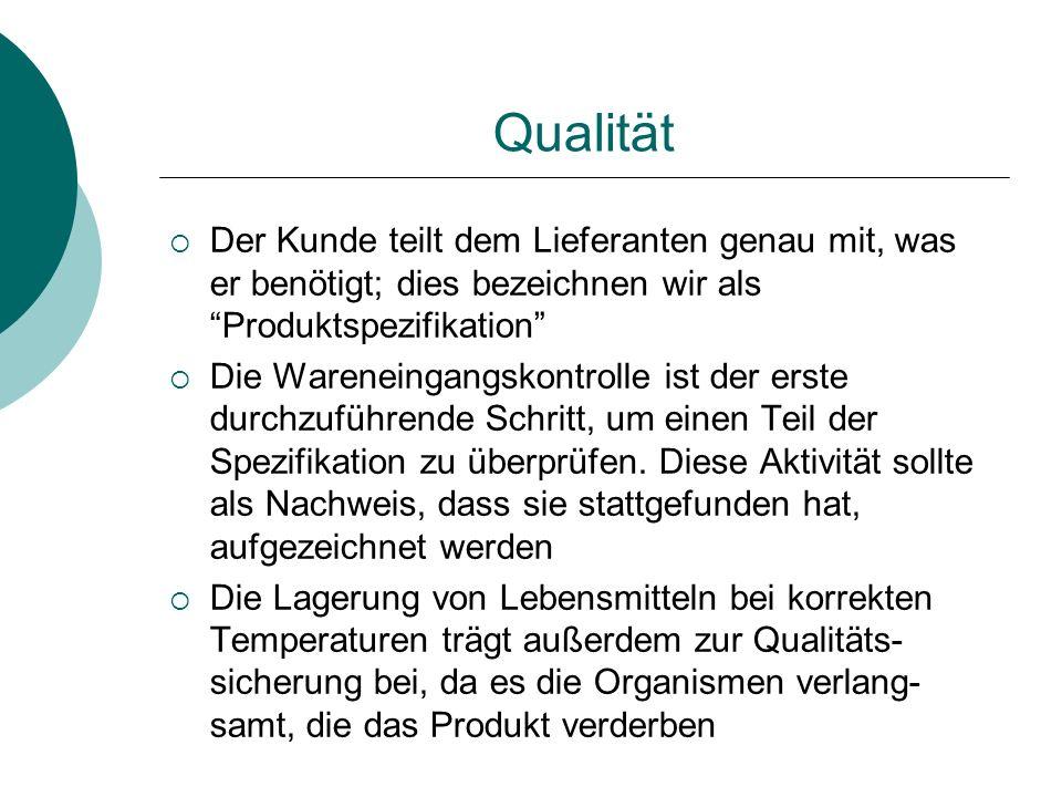 Qualität Der Kunde teilt dem Lieferanten genau mit, was er benötigt; dies bezeichnen wir als Produktspezifikation Die Wareneingangskontrolle ist der e