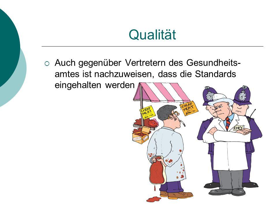 Qualität Auch gegenüber Vertretern des Gesundheits- amtes ist nachzuweisen, dass die Standards eingehalten werden