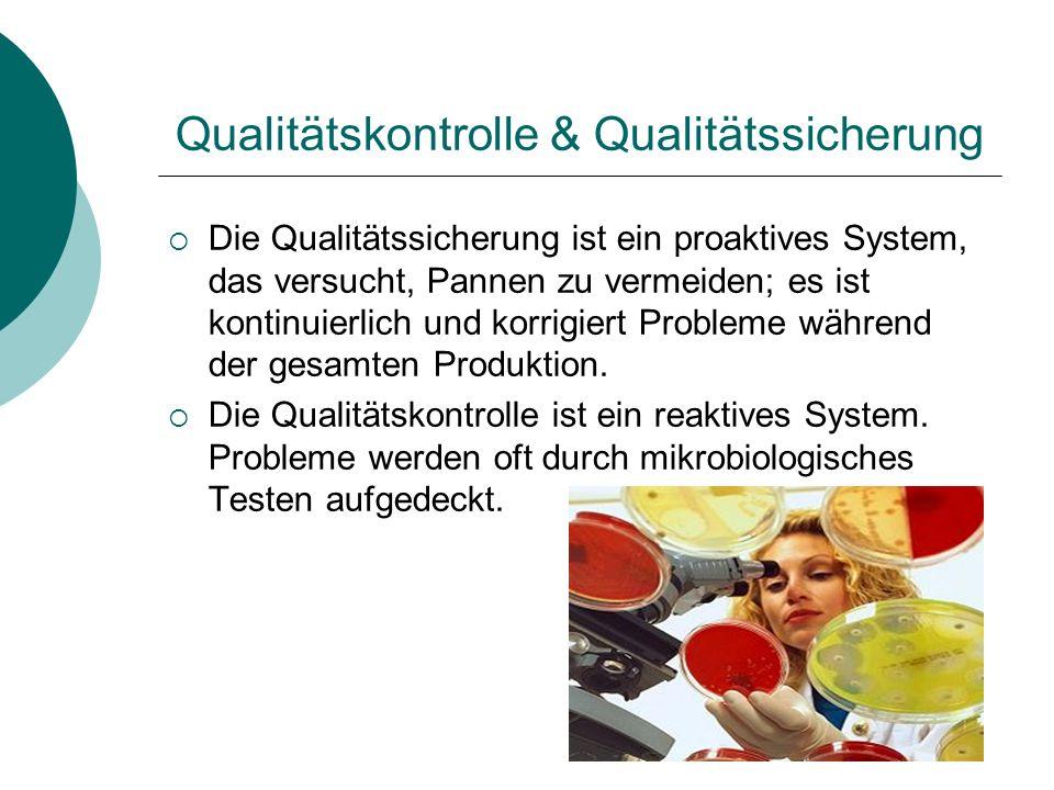 Qualitätskontrolle & Qualitätssicherung Die Qualitätssicherung ist ein proaktives System, das versucht, Pannen zu vermeiden; es ist kontinuierlich und