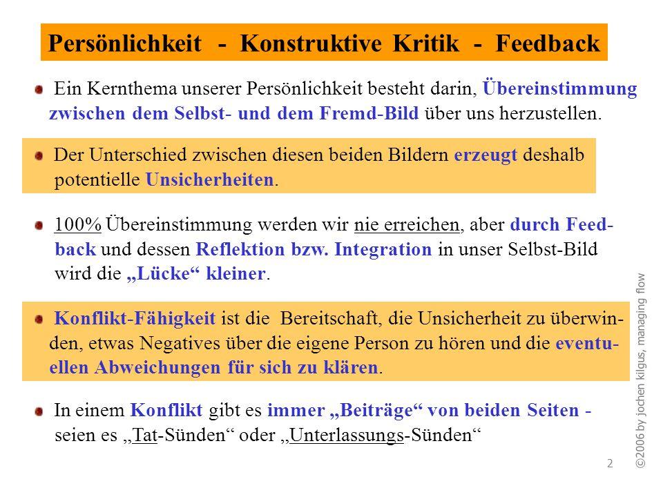 ©2006 by jochen kilgus, managing flow 2 Persönlichkeit - Konstruktive Kritik - Feedback Der Unterschied zwischen diesen beiden Bildern erzeugt deshalb