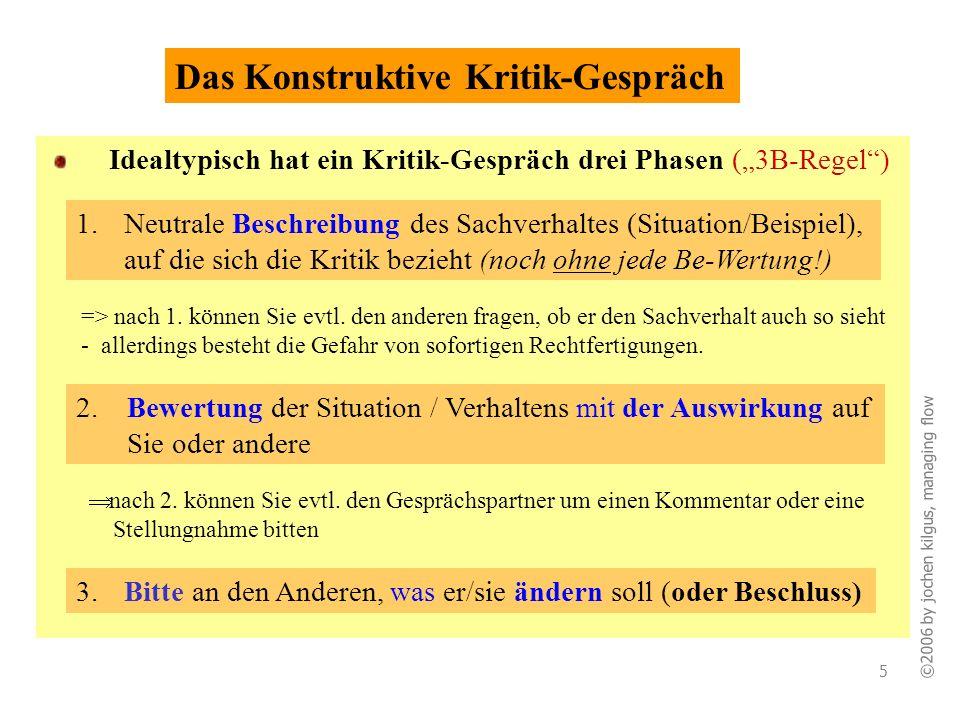 ©2006 by jochen kilgus, managing flow 5 Idealtypisch hat ein Kritik-Gespräch drei Phasen (3B-Regel) Das Konstruktive Kritik-Gespräch nach 2. können Si