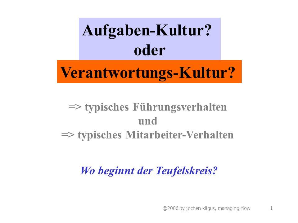 ©2006 by jochen kilgus, managing flow 1 Aufgaben-Kultur.