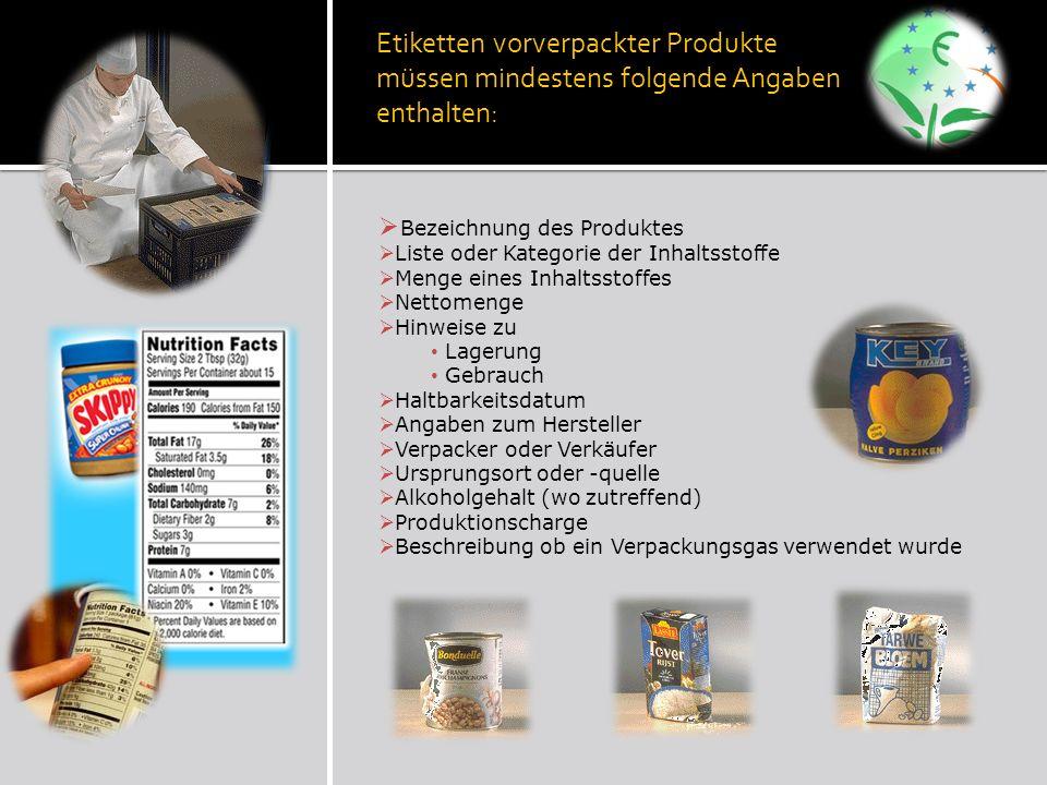 Etiketten vorverpackter Produkte müssen mindestens folgende Angaben enthalten: Bezeichnung des Produktes Liste oder Kategorie der Inhaltsstoffe Menge