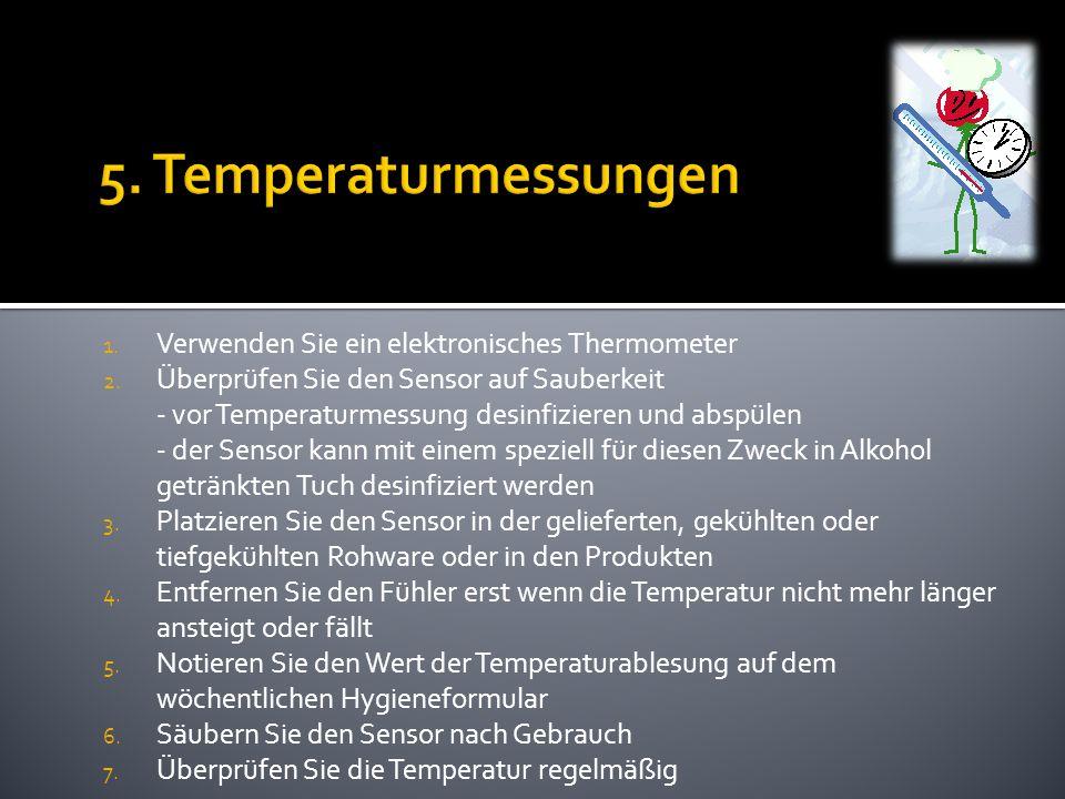 1. Verwenden Sie ein elektronisches Thermometer 2. Überprüfen Sie den Sensor auf Sauberkeit - vor Temperaturmessung desinfizieren und abspülen - der S