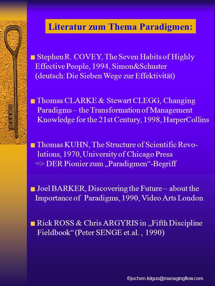 Stephen R. COVEY, The Seven Habits of Highly Effective People, 1994, Simon&Schuster (deutsch: Die Sieben Wege zur Effektivität) Thomas CLARKE & Stewar