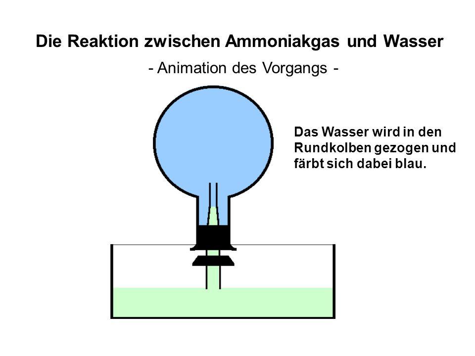 O H HHN H H H H Die Reaktion zwischen Ammoniakgas und Wasser - in der Theorie - Ein Proton aus dem H 2 O-Molekül wandert zum NH 3 -Molekül.
