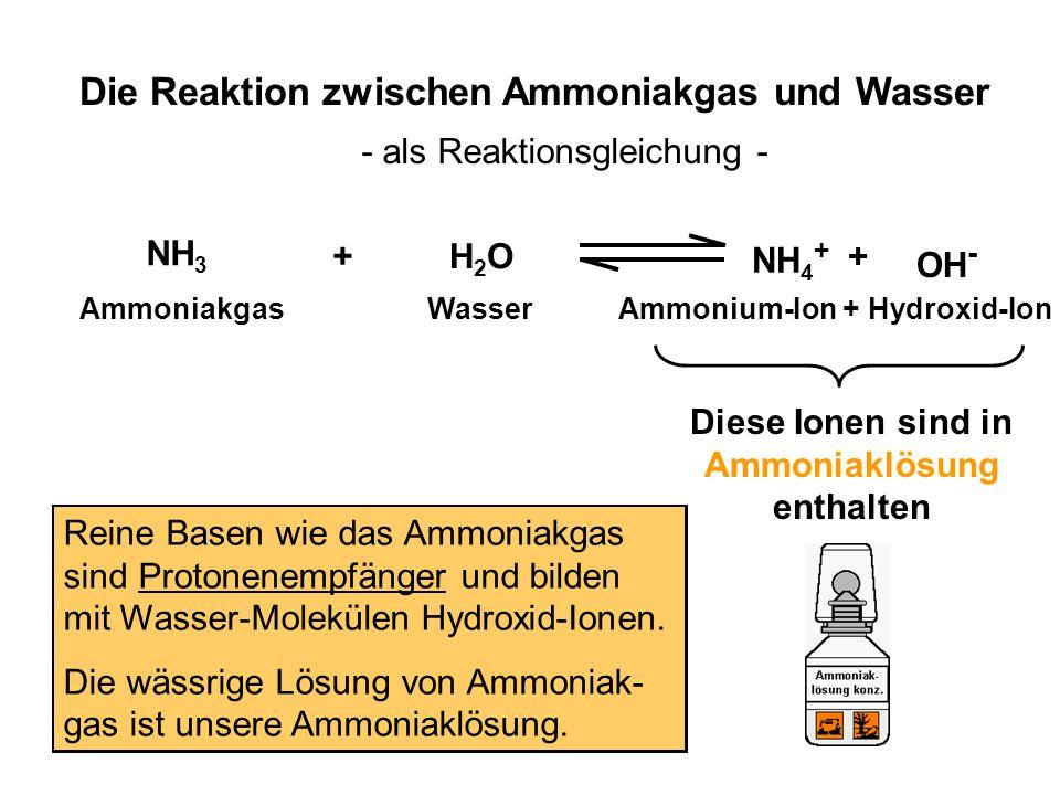 NH 3 H2OH2O NH 4 + OH - + + Ammoniakgas Wasser Ammonium-Ion + Hydroxid-Ion Die Reaktion zwischen Ammoniakgas und Wasser - als Reaktionsgleichung - Die