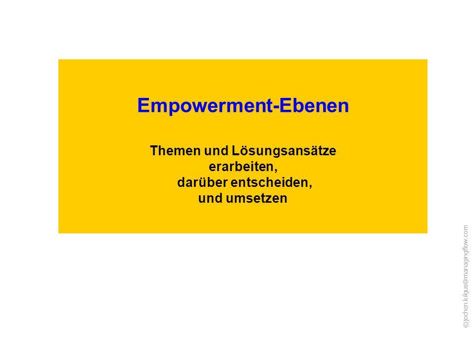 ©jochen.kilgus@managingflow.com Empowerment-Ebenen Themen und Lösungsansätze erarbeiten, darüber entscheiden, und umsetzen