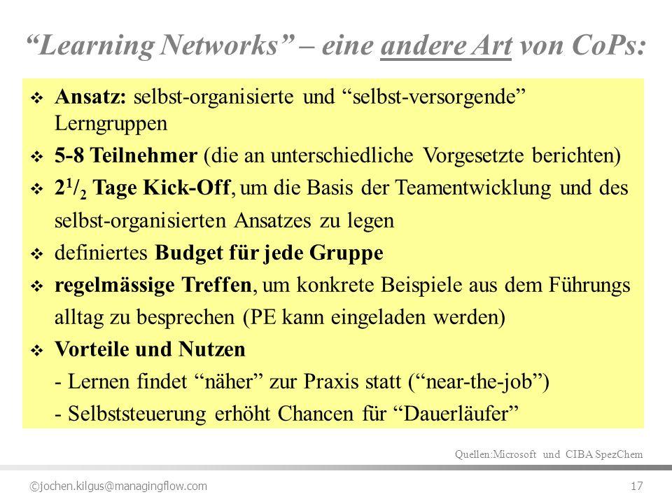 ©jochen.kilgus@managingflow.com 17 Learning Networks – eine andere Art von CoPs: Ansatz: selbst-organisierte und selbst-versorgende Lerngruppen 5-8 Te