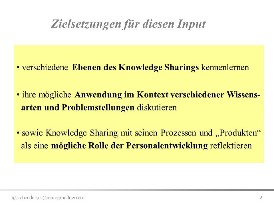 ©jochen.kilgus@managingflow.com 2 Zielsetzungen für diesen Input verschiedene Ebenen des Knowledge Sharings kennenlernen ihre mögliche Anwendung im Ko