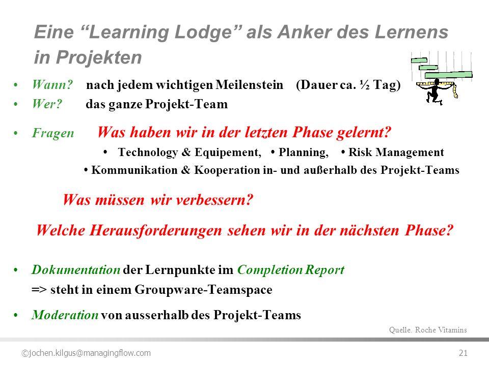 ©jochen.kilgus@managingflow.com 21 Wann? nach jedem wichtigen Meilenstein (Dauer ca. ½ Tag) Wer? das ganze Projekt-Team Fragen Was haben wir in der le