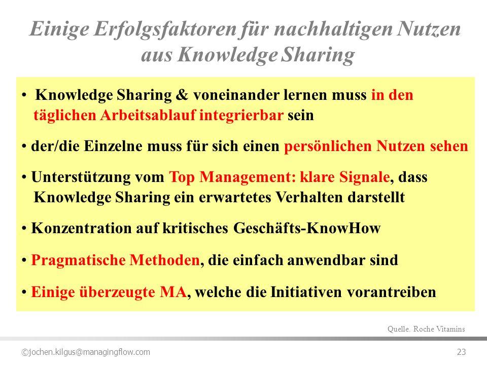 ©jochen.kilgus@managingflow.com 23 Einige Erfolgsfaktoren für nachhaltigen Nutzen aus Knowledge Sharing Knowledge Sharing & voneinander lernen muss in