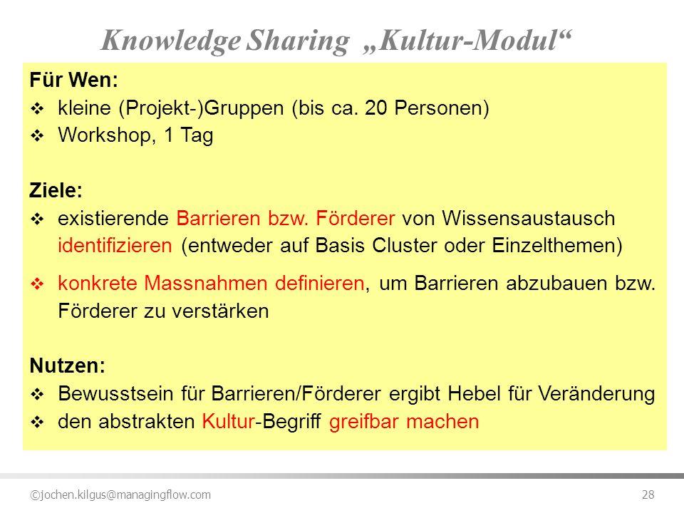 ©jochen.kilgus@managingflow.com 28 Knowledge Sharing Kultur-Modul Für Wen: kleine (Projekt-)Gruppen (bis ca. 20 Personen) Workshop, 1 Tag Ziele: exist