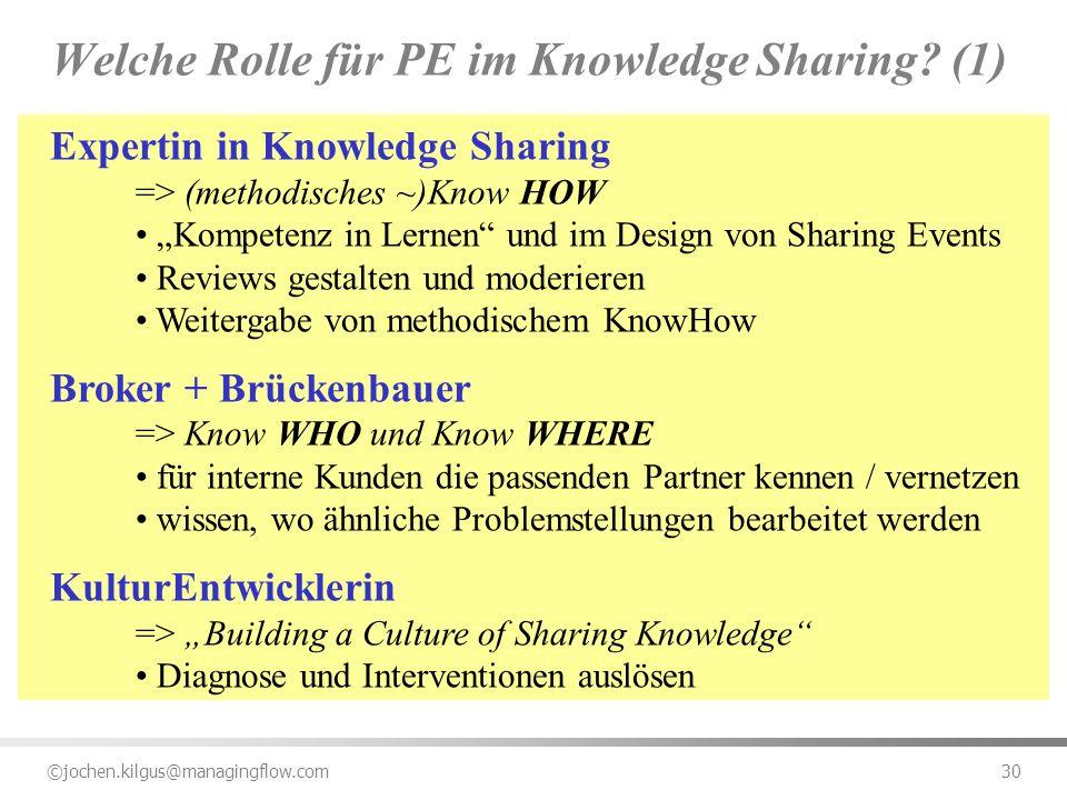 ©jochen.kilgus@managingflow.com 30 Welche Rolle für PE im Knowledge Sharing? (1) Expertin in Knowledge Sharing => (methodisches ~)Know HOW Kompetenz i