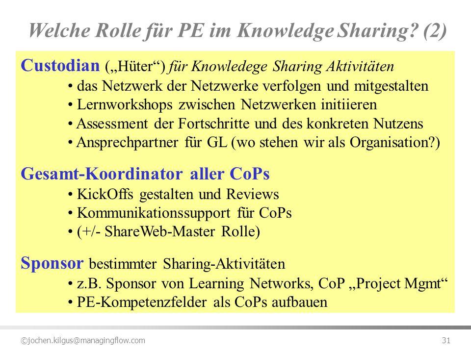 ©jochen.kilgus@managingflow.com 31 Custodian (Hüter) für Knowledege Sharing Aktivitäten das Netzwerk der Netzwerke verfolgen und mitgestalten Lernwork