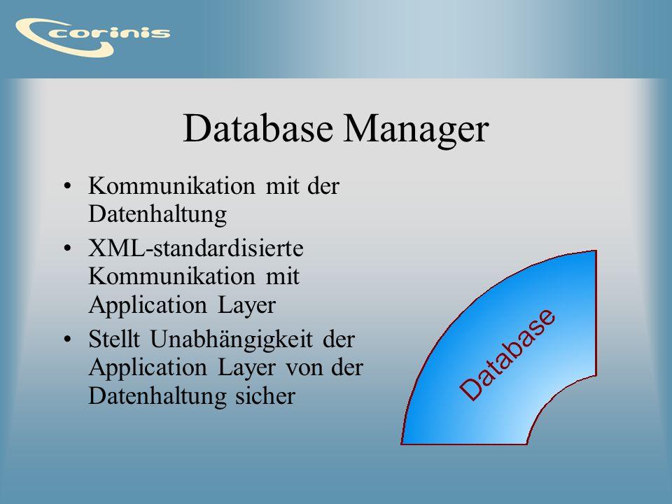 Database Manager Kommunikation mit der Datenhaltung XML-standardisierte Kommunikation mit Application Layer Stellt Unabhängigkeit der Application Laye