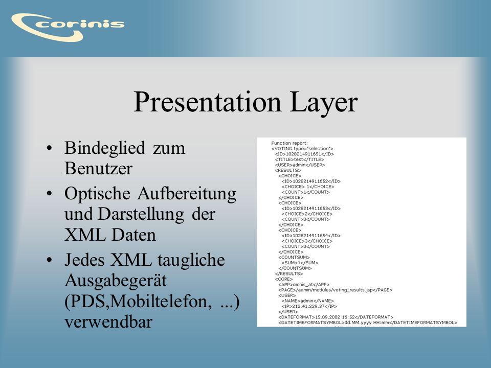 Presentation Layer - Module Webbrowser: XML-Daten per XSL Stylesheet optisch aufbereitet Ausgabe: HTML Ausgabe jedoch auch als PDF, WML, usw.