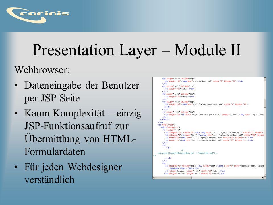 Presentation Layer – Module II Webbrowser: Dateneingabe der Benutzer per JSP-Seite Kaum Komplexität – einzig JSP-Funktionsaufruf zur Übermittlung von