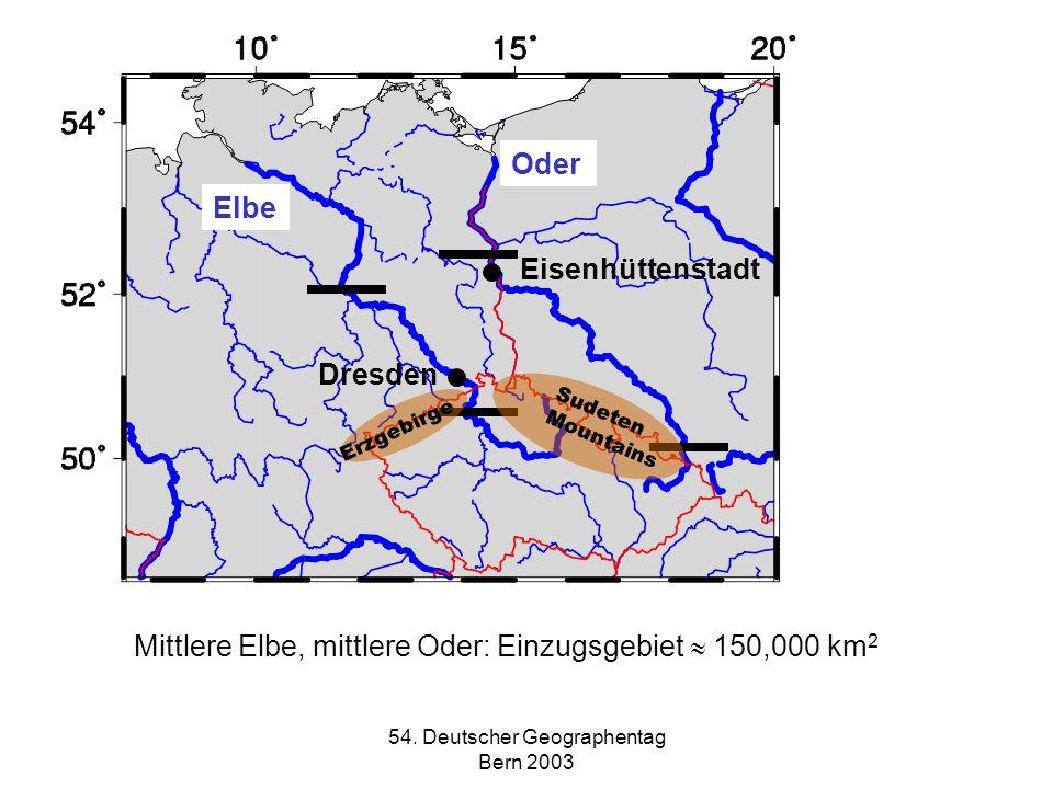 54. Deutscher Geographentag Bern 2003 Oder Elbe Dresden Eisenhüttenstadt Erzgebirge Sudeten Mountains Mittlere Elbe, mittlere Oder: Einzugsgebiet 150,