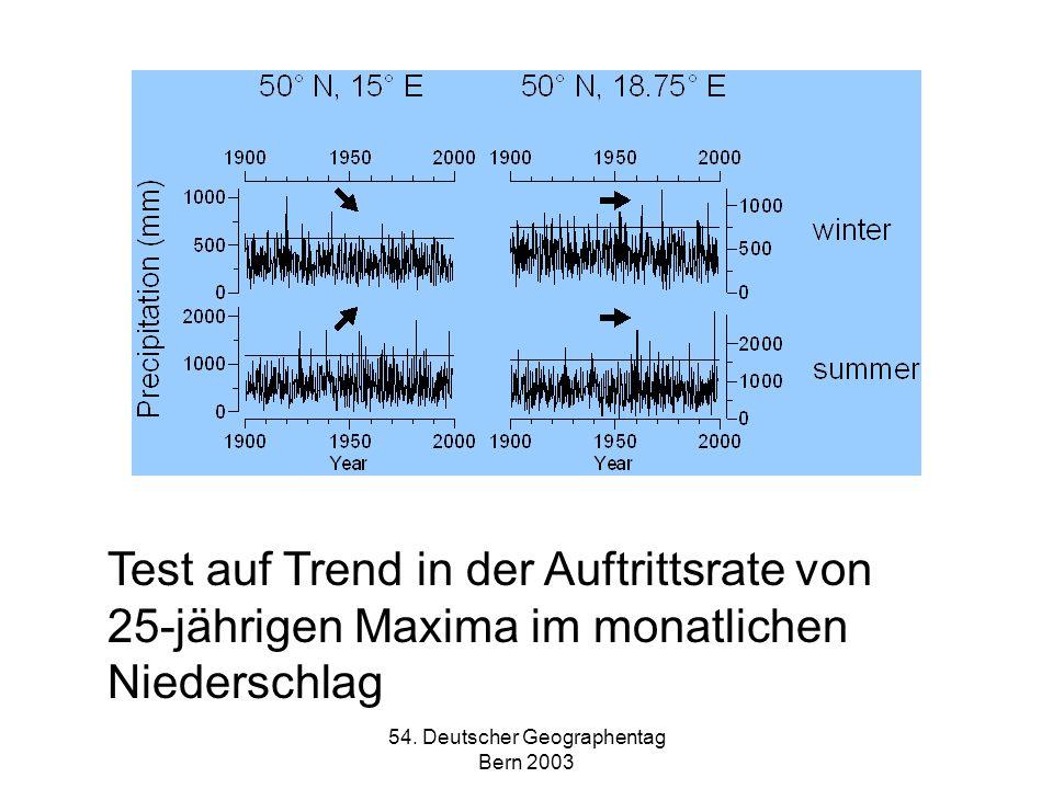 54. Deutscher Geographentag Bern 2003 Test auf Trend in der Auftrittsrate von 25-jährigen Maxima im monatlichen Niederschlag
