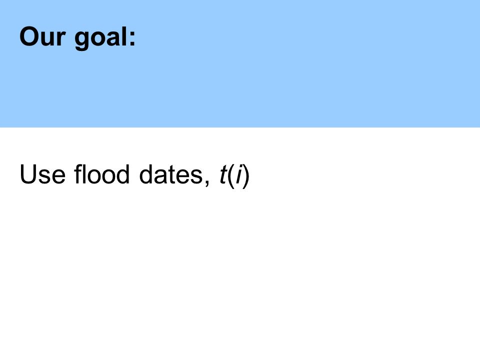 Our goal: Use flood dates, t(i)