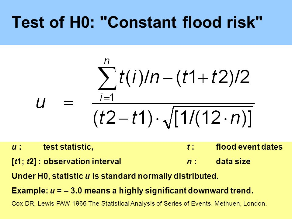 Test of H0: Constant flood risk u :test statistic,t :flood event dates [t1; t2] : observation intervaln : data size Under H0, statistic u is standard normally distributed.