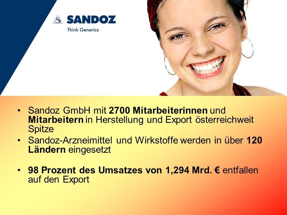 Sandoz GmbH mit 2700 Mitarbeiterinnen und Mitarbeitern in Herstellung und Export österreichweit Spitze Sandoz-Arzneimittel und Wirkstoffe werden in üb