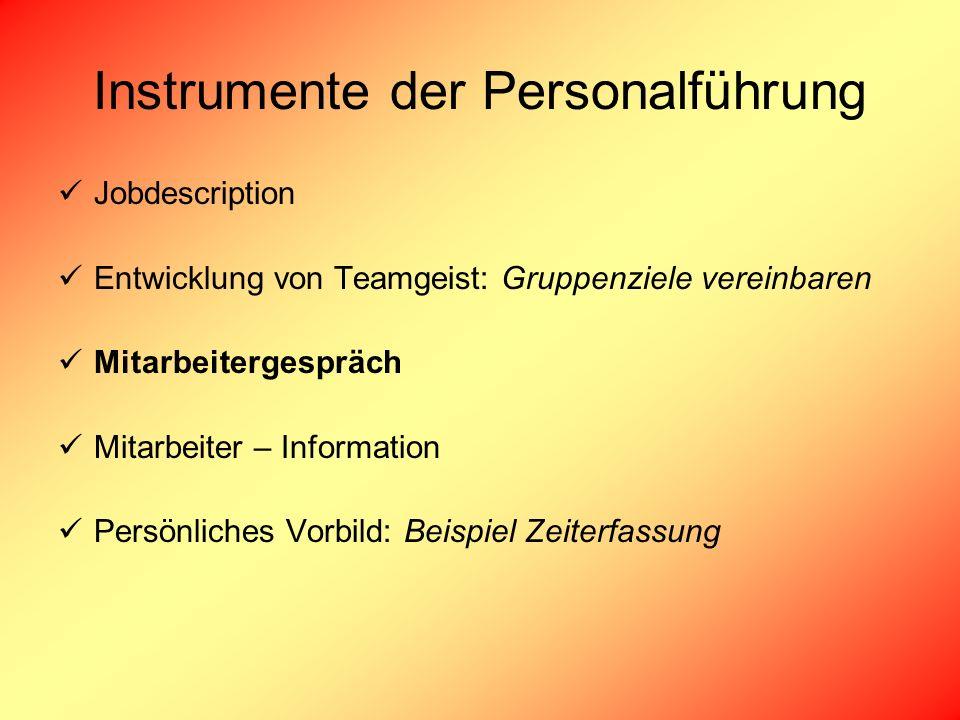 Instrumente der Personalführung Jobdescription Entwicklung von Teamgeist: Gruppenziele vereinbaren Mitarbeitergespräch Mitarbeiter – Information Persö