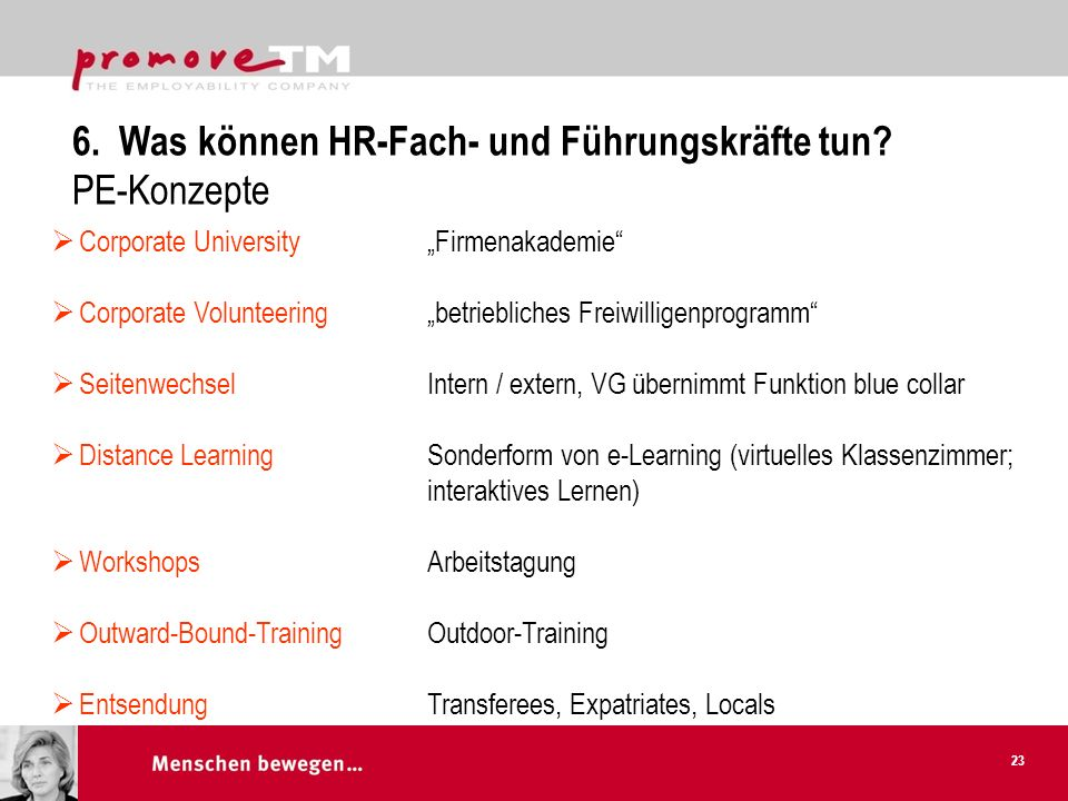 Corporate University Corporate Volunteering Seitenwechsel Distance Learning Workshops Outward-Bound-Training Entsendung Firmenakademie betriebliches F