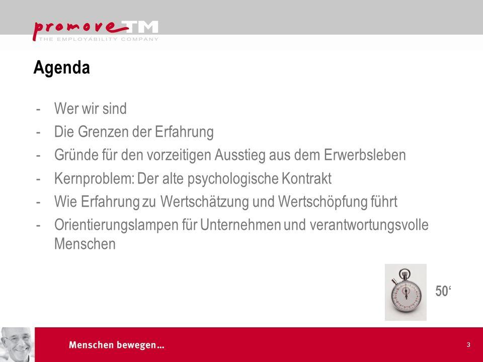 Agenda -Wer wir sind -Die Grenzen der Erfahrung -Gründe für den vorzeitigen Ausstieg aus dem Erwerbsleben -Kernproblem: Der alte psychologische Kontra