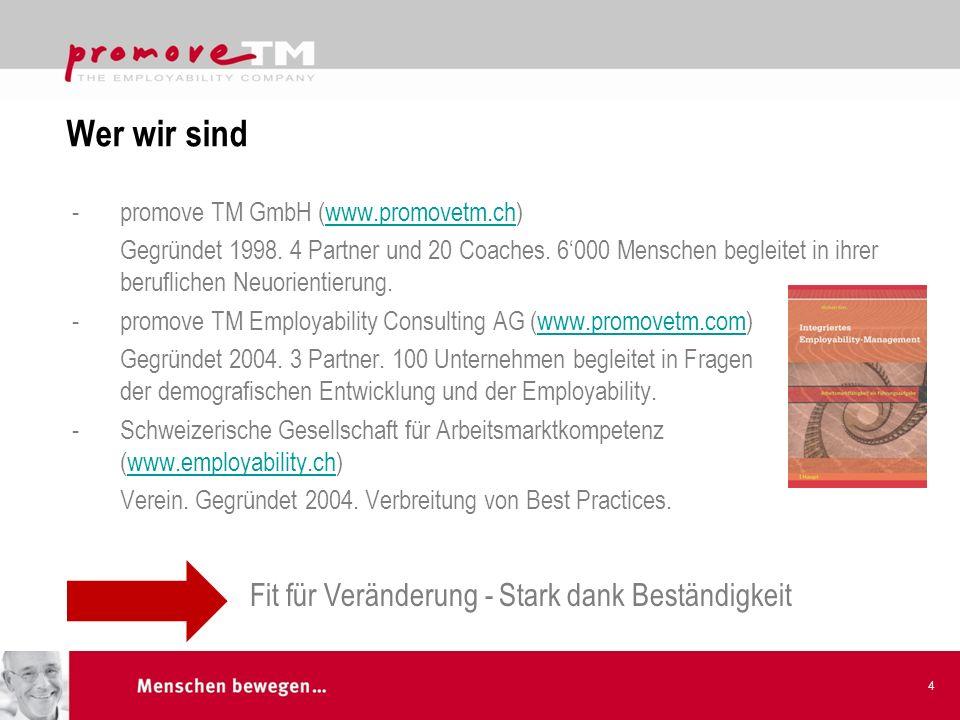 Wer wir sind -promove TM GmbH (www.promovetm.ch)www.promovetm.ch Gegründet 1998. 4 Partner und 20 Coaches. 6000 Menschen begleitet in ihrer berufliche