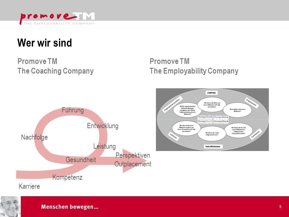 Wer wir sind Promove TM The Coaching Company Promove TM The Employability Company 5 Entwicklung Führung Karriere Kompetenz Gesundheit Perspektiven Outplacement Nachfolge Leistung