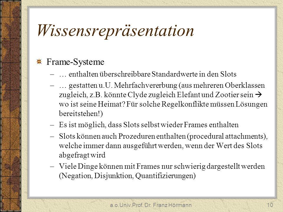 a.o.Univ.Prof. Dr. Franz Hörmann10 Wissensrepräsentation Frame-Systeme –… enthalten überschreibbare Standardwerte in den Slots –… gestatten u.U. Mehrf
