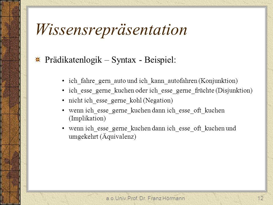 a.o.Univ.Prof. Dr. Franz Hörmann12 Wissensrepräsentation Prädikatenlogik – Syntax - Beispiel: ich_fahre_gern_auto und ich_kann_autofahren (Konjunktion