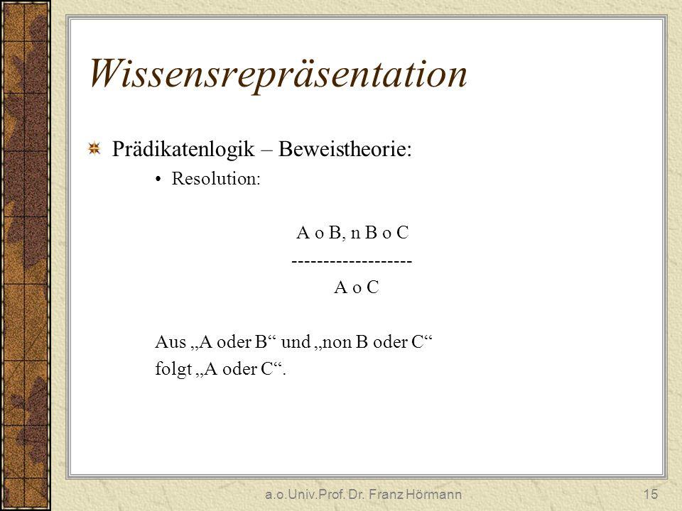 a.o.Univ.Prof. Dr. Franz Hörmann15 Wissensrepräsentation Prädikatenlogik – Beweistheorie: Resolution: A o B, n B o C ------------------- A o C Aus A o