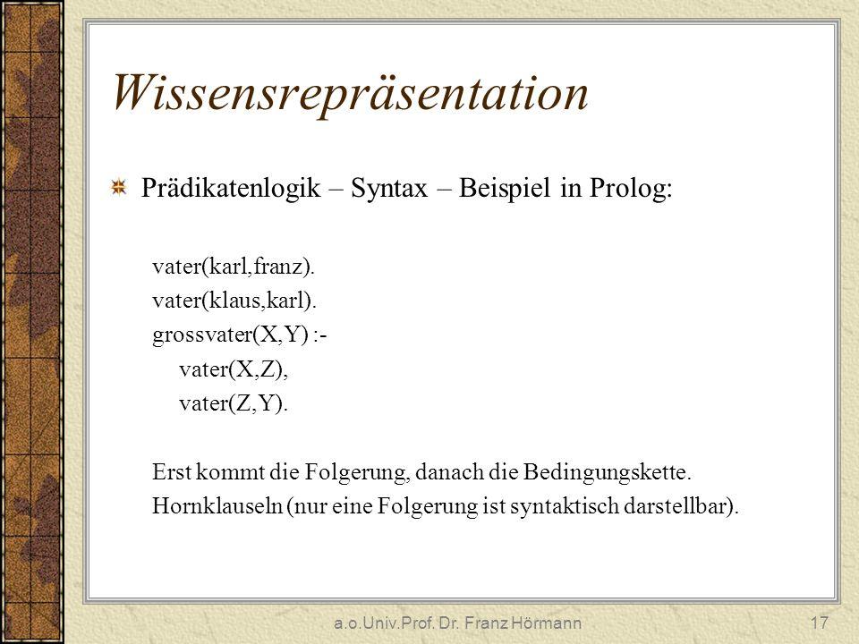 a.o.Univ.Prof. Dr. Franz Hörmann17 Wissensrepräsentation Prädikatenlogik – Syntax – Beispiel in Prolog: vater(karl,franz). vater(klaus,karl). grossvat