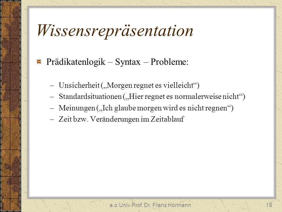 a.o.Univ.Prof. Dr. Franz Hörmann18 Wissensrepräsentation Prädikatenlogik – Syntax – Probleme: –Unsicherheit (Morgen regnet es vielleicht) –Standardsit