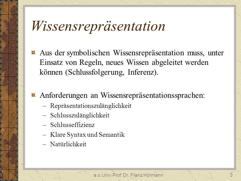 a.o.Univ.Prof. Dr. Franz Hörmann3 Wissensrepräsentation Aus der symbolischen Wissensrepräsentation muss, unter Einsatz von Regeln, neues Wissen abgele